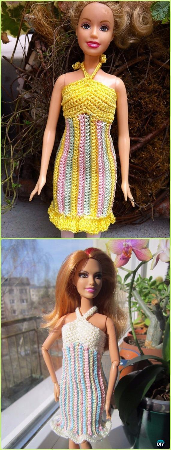 Crochet Striped Sherbet Sundress Free Pattern - Crochet Barbie Fashion Doll Clothes Outfits Free Patterns