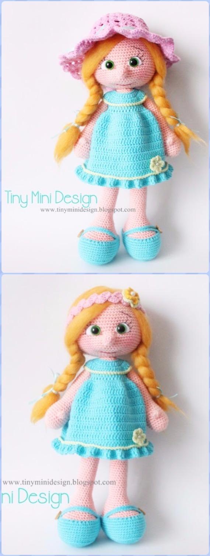 Crochet Blue Dress Doll Free Pattern - Crochet Doll Toys Free Patterns