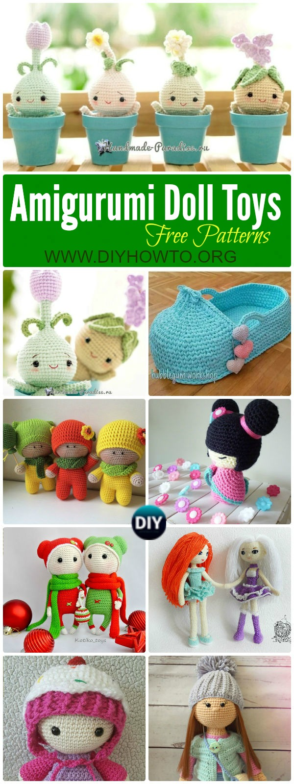 Collection of Crochet Doll Toys Free Patterns: Crochet Dolls, Crochet Toys. Amigurumi Dolls Free Patterns, Crochet Doll Carrier