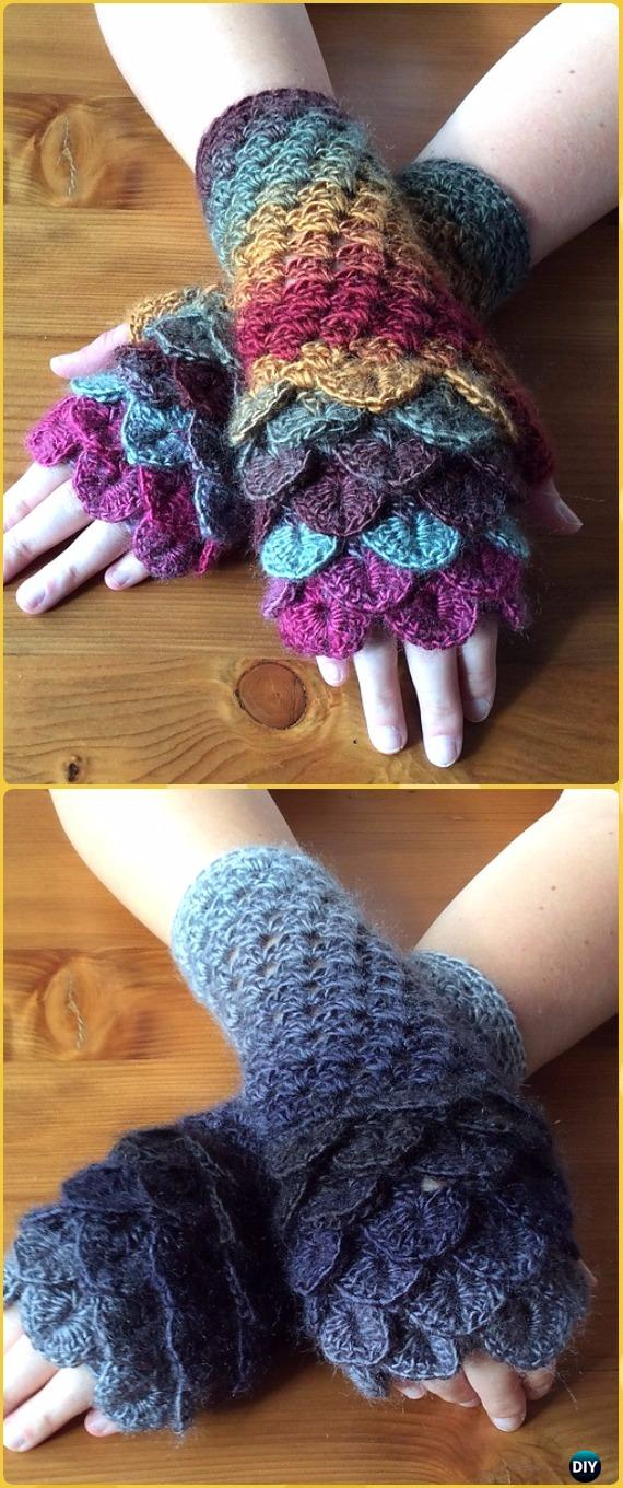 Crochet Dragon Scale Crocodile Stitch Gloves Fingerless Patterns