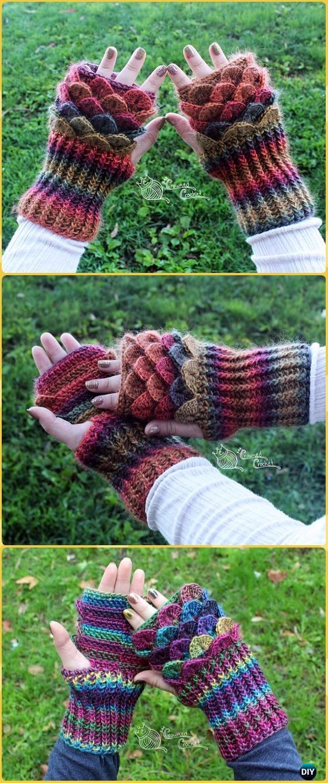 Crochet Dragon Scale Fingerless Gloves Gauntlets Paid Pattern - Crochet Dragon Scale Crocodile Stitch Gloves Patterns