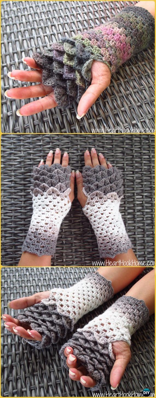 Crochet Dragon Tears Fingerless Gloves Paid Pattern - Crochet Dragon Scale Crocodile Stitch Gloves Patterns