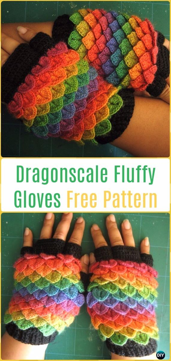 Crochet Crocodile Stitch Dragonscale Fluffy Gloves Free Pattern - Crochet Dragon Scale Crocodile Stitch Gloves Patterns