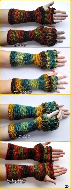Crochet Long Dragon Scale Gloves Paid Pattern - Crochet Dragon Scale Crocodile Stitch Gloves Patterns