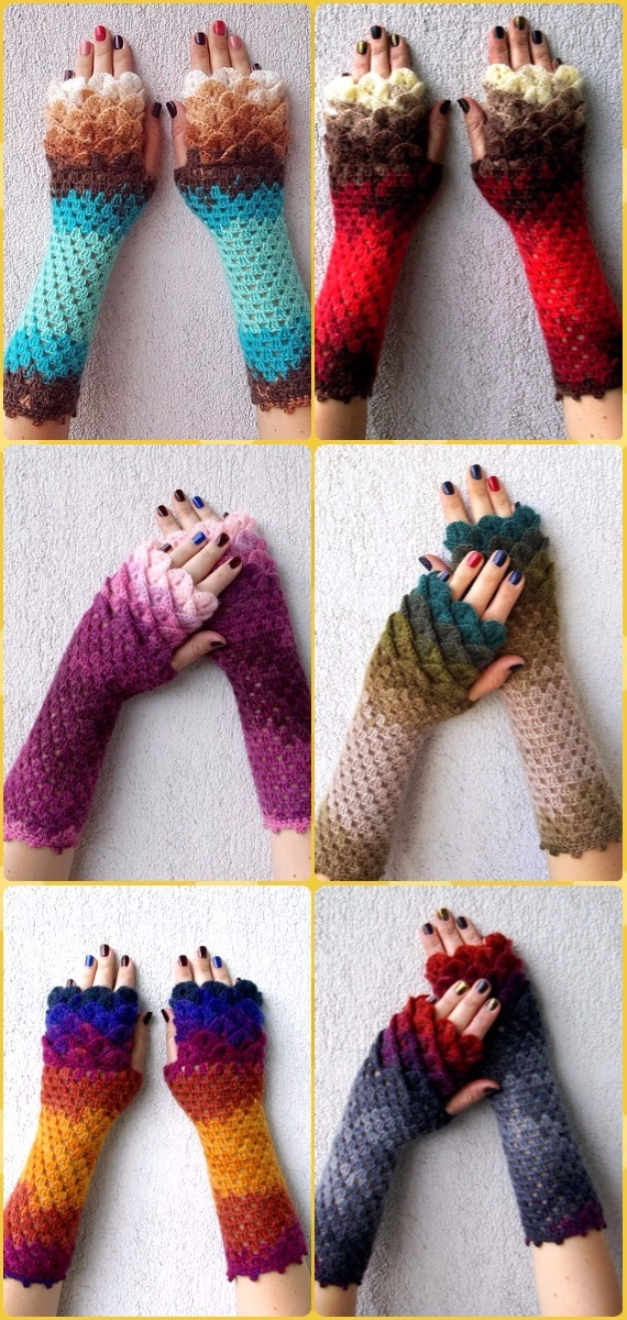 Crochet Dragonscale Gloves Purchase - Crochet Dragon Scale Crocodile Stitch Gloves Patterns