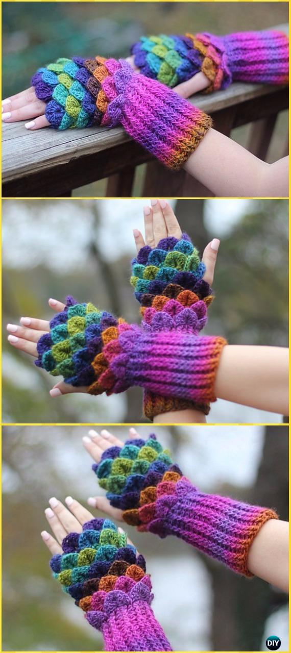 Crochet Crocodile Stitch Fingerless Gloves Free Pattern [limited time by Dec 17-2017]- Crochet Dragon Scale Crocodile Stitch Gloves Patterns