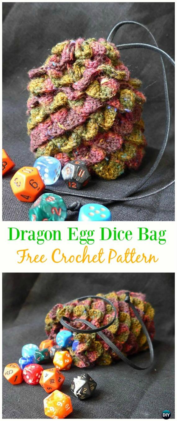 Dragon Egg Dice Bag Free Crochet Pattern -#Crochet Drawstring #Bags Free Patterns