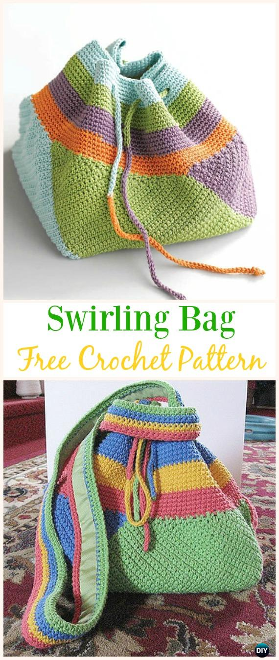 Swirling Bag Free Crochet Pattern -#Crochet Drawstring #Bags Free Patterns