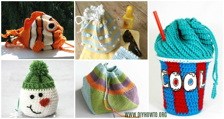 Crochet Drawstring Bags Free Patterns Diy Tutorials