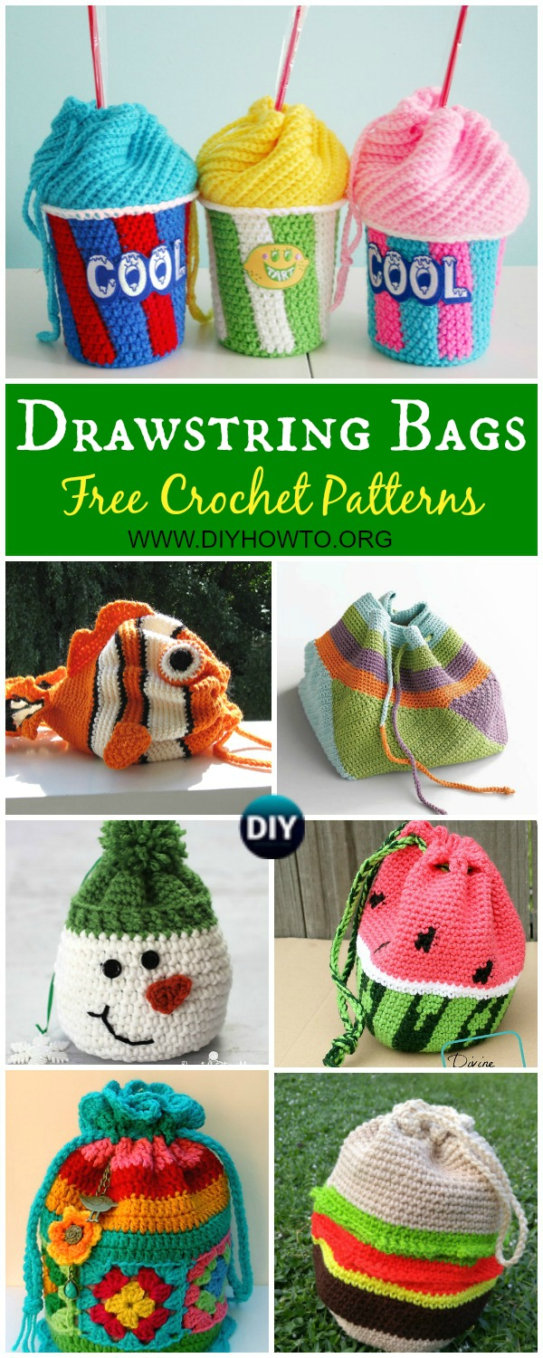Collection of Crochet Drawstring Bags Free Patterns & DIY Tutorials: for kids and adults, drawstring shoulder bags, gift bags and pouches, drinks bags, dice.toy sacks and more