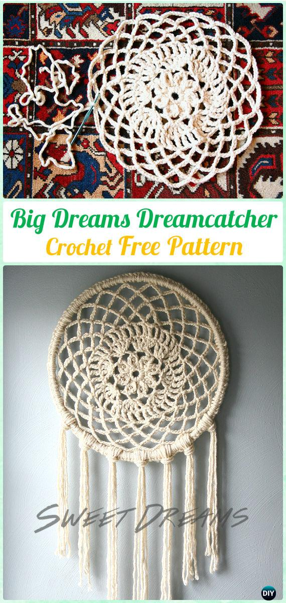 Crochet Big Dreams Doily DreamCatcher Free Patterns - Crochet Dream Catcher Free Patterns