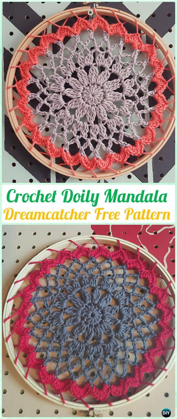 Crochet Doily Mandala DreamCatcher Free Patterns - Crochet Dream Catcher Free Patterns