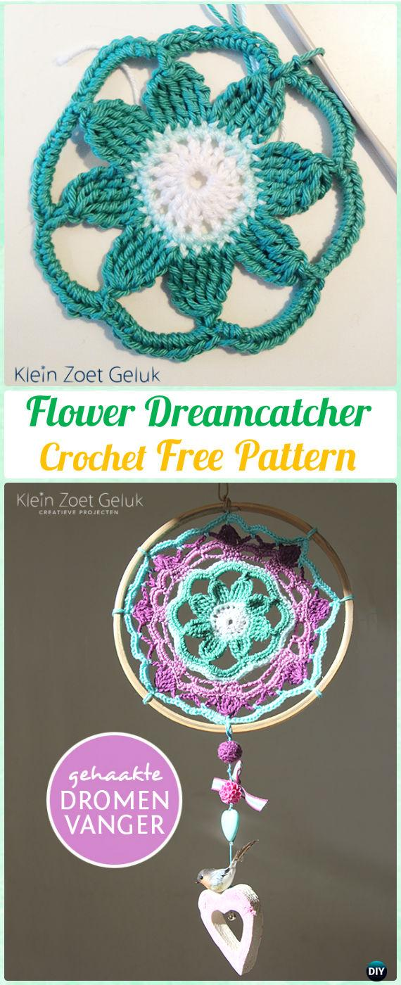 Crochet Flower DreamCatcher Free Patterns - Crochet Dream Catcher Free Patterns