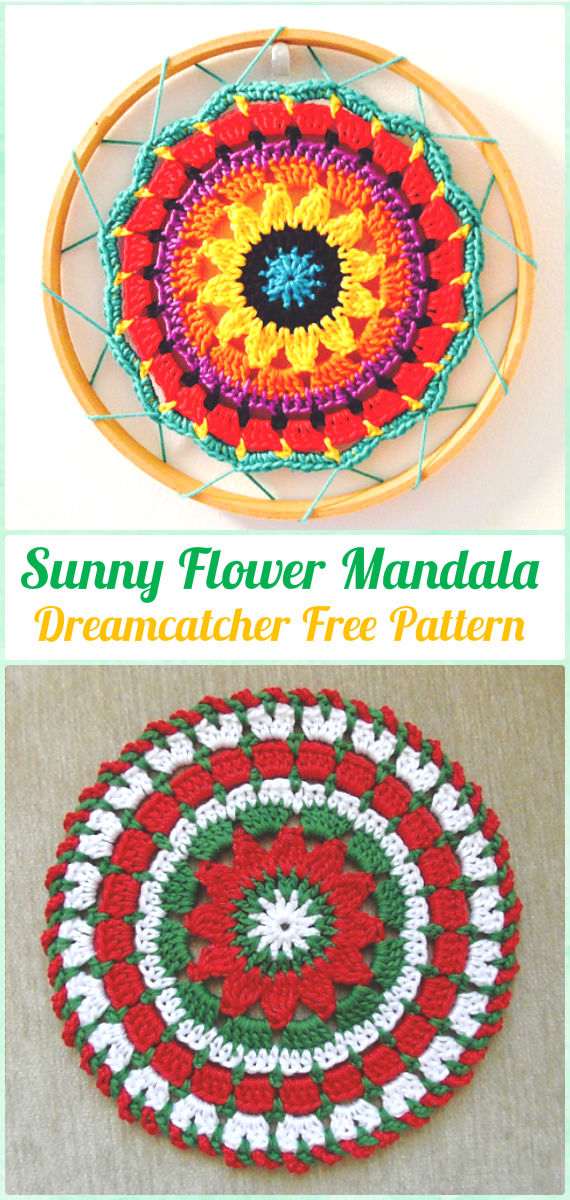 Crochet Sunny Flower Mini Mandala Sun-Catcher Free Pattern - Crochet Dream Catcher Free Patterns