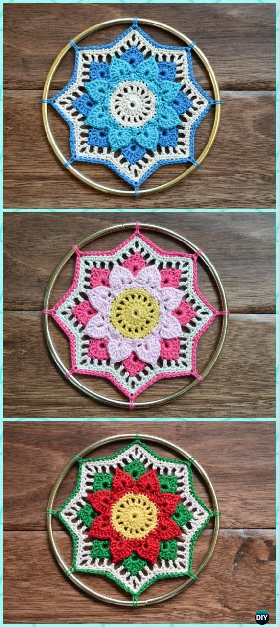 Crochet Rhiannon Crocodile Stitch Doily Dream Catcher Free Pattern -Crochet Dream Catcher Free Patterns