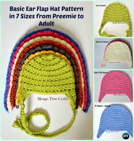 DIY Crochet Basic Ear Flap Hat Free Patterns - 7 Sizes