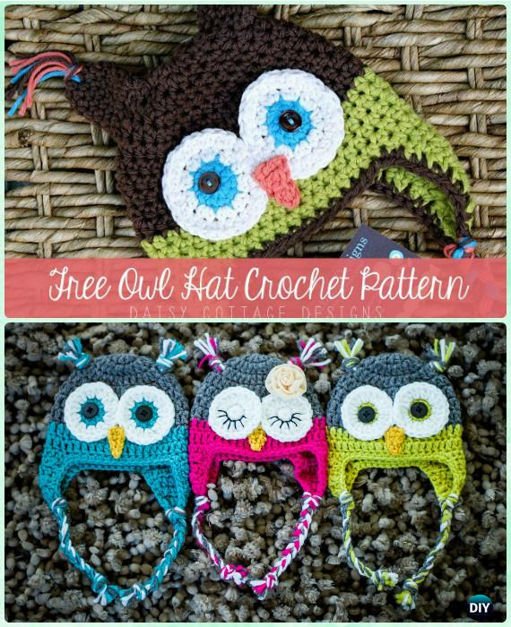 Crochet Owl Hat Free Pattern InstructionsDIY Crochet Ear Flap Hat Simple Free Owl Hat Knitting Pattern