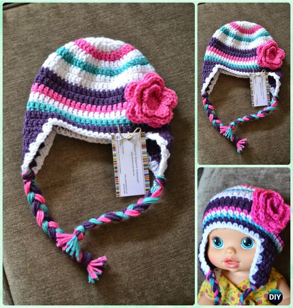 Crochet Super Bulky Striped Hat Free Pattern Instructions-DIY Crochet Ear Flap Hat Free Patterns
