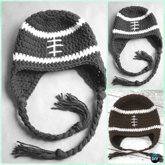 Crochet Football Earflap Hat Free Pattern Instructions-DIY Crochet Ear Flap Hat Free Patterns