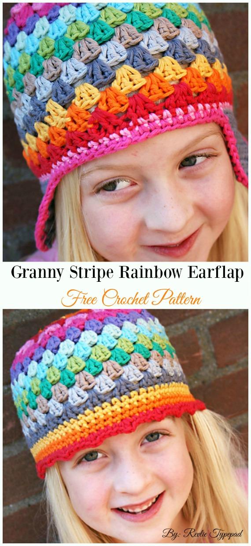 Granny Stripe Rainbow Beanie Earflap Hat Crochet Free Pattern