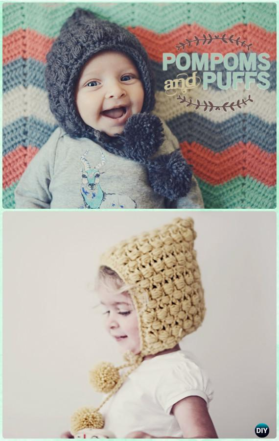 Crochet Pompom Puff Stitch Earflap Hat Free Pattern Instructions Diy