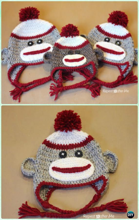 Crochet Monkey Earflap Hat Free Pattern Instructions Diy Crochet Ear