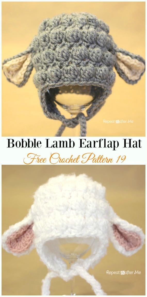 Bobble Lamb Earflap Hat Crochet Free Pattern - #Crochet; #EarFlap; Hat Free Patterns