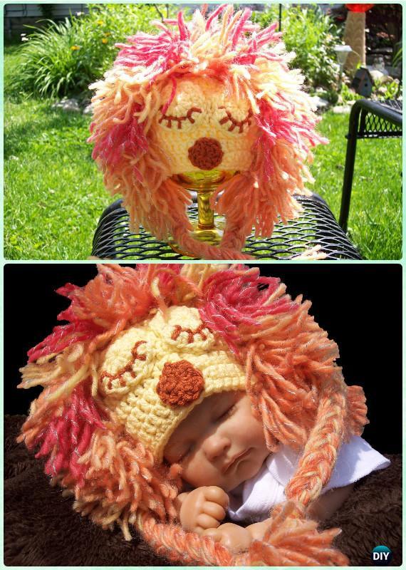 Crochet Lion Earflap Hat Free Pattern Instructions-DIY Crochet Ear Flap Hat Free Patterns