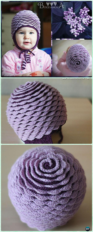 Crochet Rose Flower Hat Free Pattern [Video]-Crochet Ear Flap Hat Free Patterns