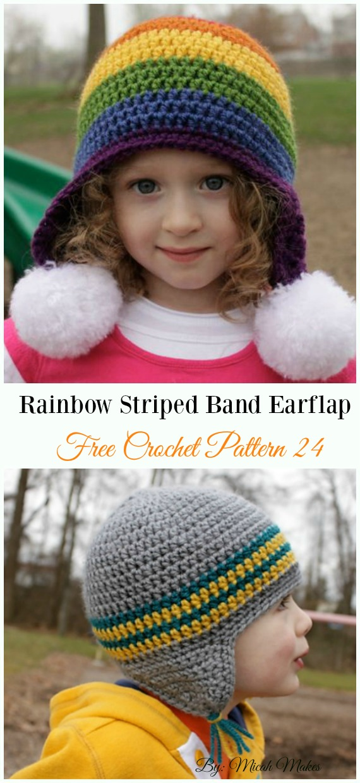 Rainbow Striped Band Earflap HatCrochet Free Pattern - #Crochet; #EarFlap; Hat Free Patterns