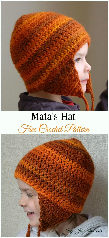 Maia's HatCrochet Free Pattern - #Crochet; #EarFlap; Hat Free Patterns