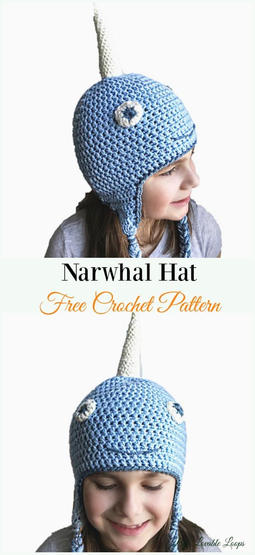 Narwhal HatCrochet Free Pattern - #Crochet; #EarFlap; Hat Free Patterns