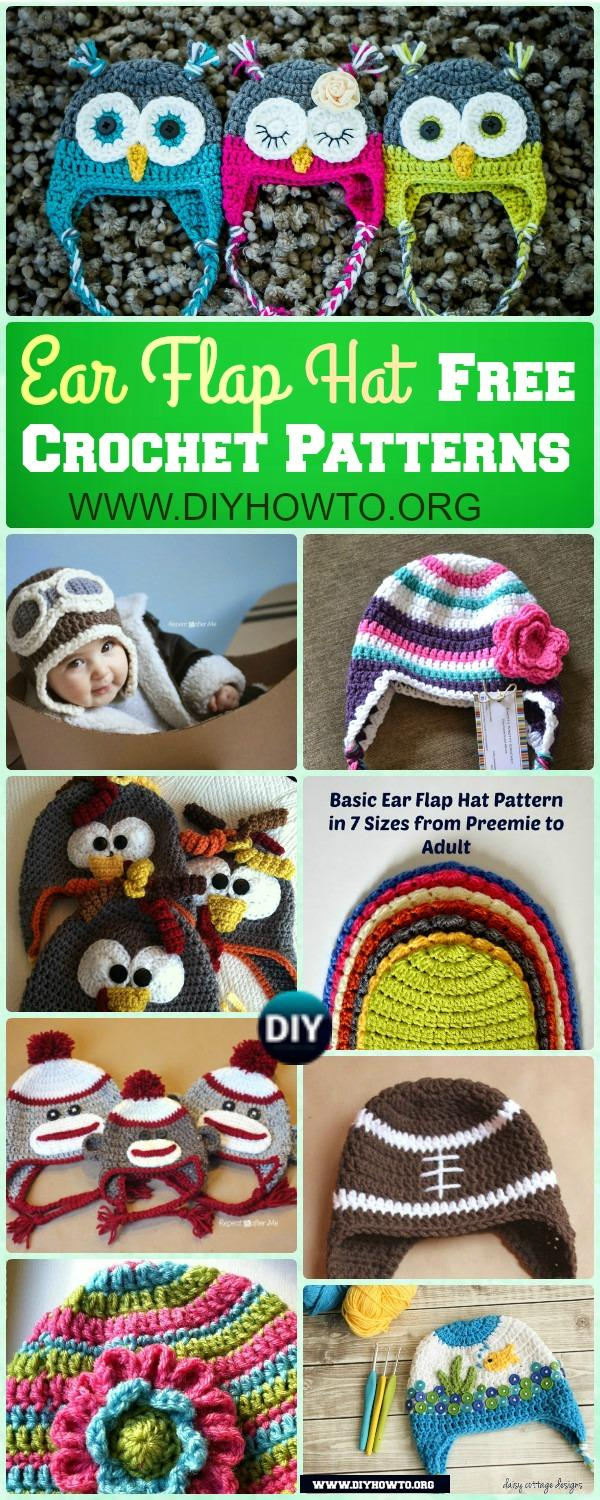 Winter Ear Flap Hat Crochet Pattern Free For Kids, Adults, Girls and Boys and Holiday Gifts