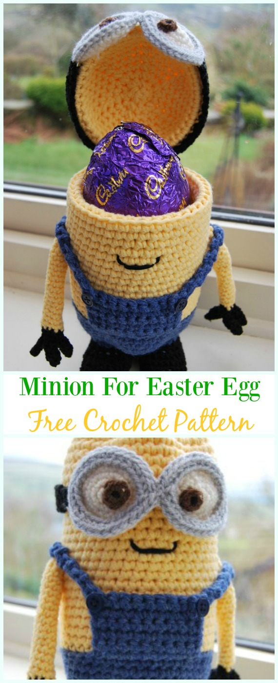 Crochet Minions of Easter Eggs Free Pattern - #Crochet, #Easter; Egg Cozy&Holder Free Patterns