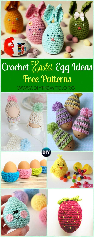 Collection of Crochet Easter Egg Cozy Cover & Holder Free Patterns, Egg Hat, Egg Holder, Egg Tray