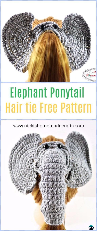 Crochet Elephant Ponytail Hair tieFree Pattern - Crochet Elephant Free Patterns