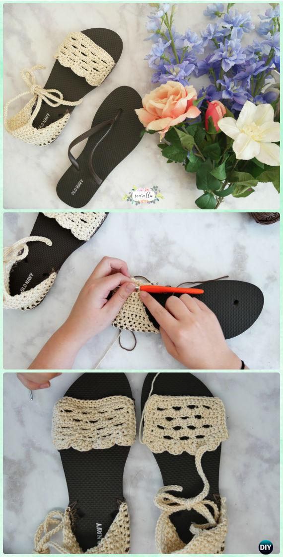 Crochet Sandals with Flip Flop Soles Free Pattern - Crochet Flip Flop Footwear Makeover Free Patterns