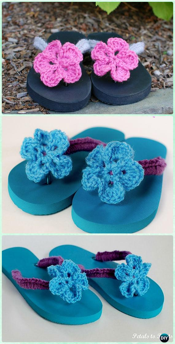 Crochet Flower Flip Flops Free Pattern - Crochet Flip Flop Footwear Makeover Free Patterns