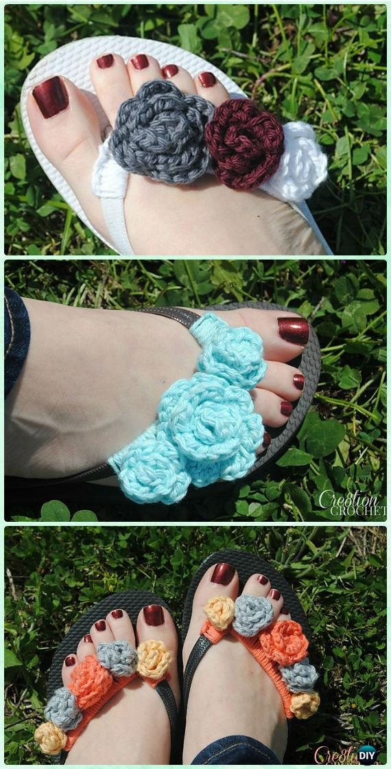 Crochet Flower Power Flip Flops Free Pattern - Crochet Flip Flop Footwear Makeover Free Patterns