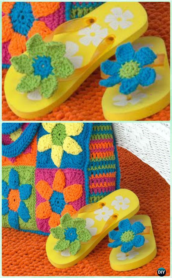 Crochet Flip Flop Flower Free Patterns [Video] - Crochet Flip Flop Footwear Makeover Free Patterns