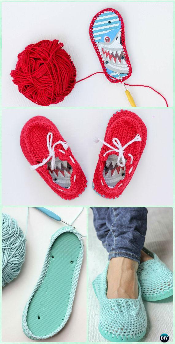 Crochet Flip Flop Boat Slippers Free Pattern - Crochet Flip Flop Footwear Makeover Free Patterns