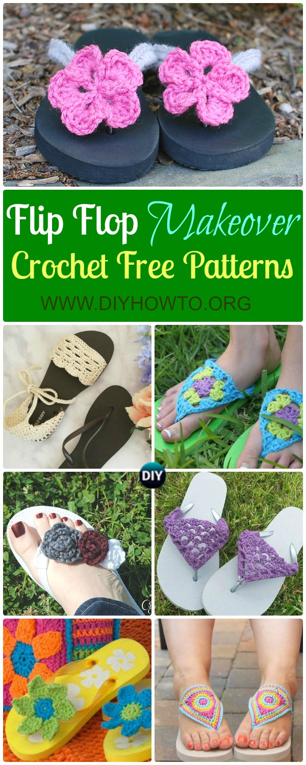 Collection of Crochet Flip Flop Footwear Makeover Free Patterns: Restyle with crochet flip flop soles into slippers, sandals and even boots.