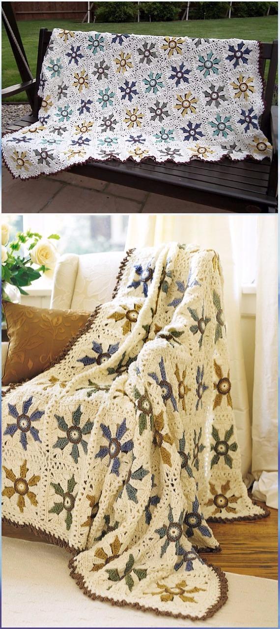 Crochet Elegant Floral Afghan Free Pattern - Crochet Flower Blanket Free Patterns
