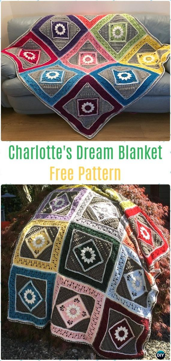 Crochet Charlotte's Dream Blanket Free Pattern - Crochet Flower Blanket Free Patterns