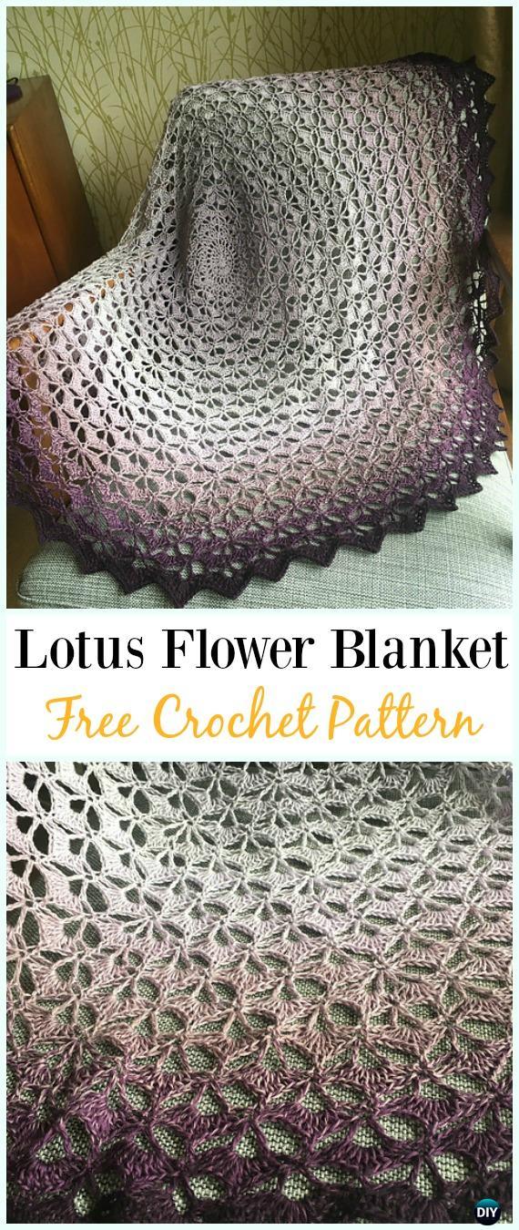Crochet Lotus Flower Blanket Free Pattern Crochet Flower