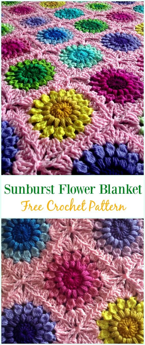 Crochet Sunburst Flower Blanket Free Pattern - #Crochet; Flower #Blanket; Free Patterns