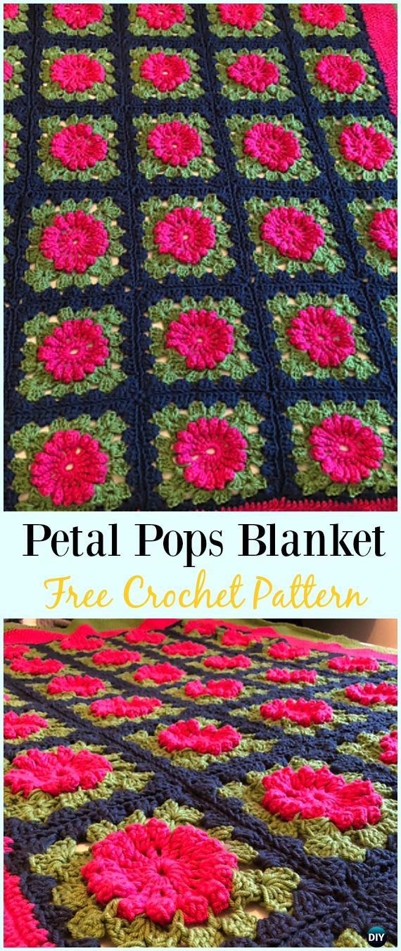 Crochet Petal Pops Blanket Free Pattern - #Crochet; Flower #Blanket; Free Patterns