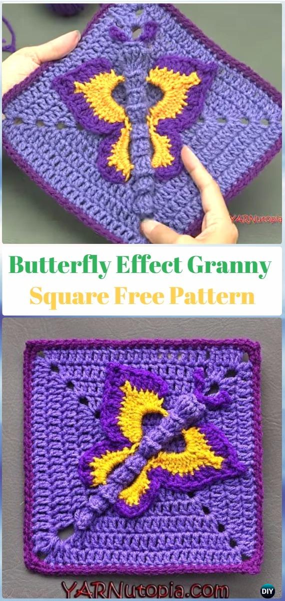 Crochet Butterfly EffectGranny Square Free Pattern - Crochet Butterfly Free Patterns [Picture Instructions]