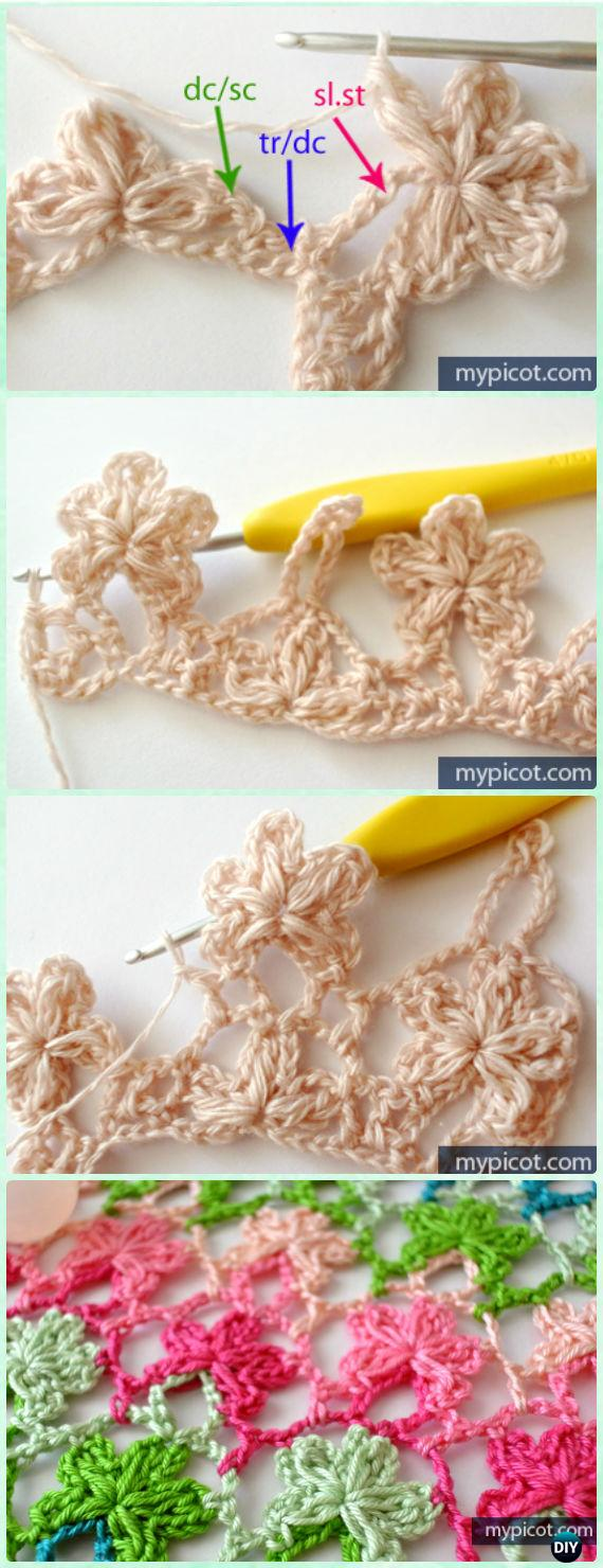 Inline Crochet Flower Stitch Free Patterns