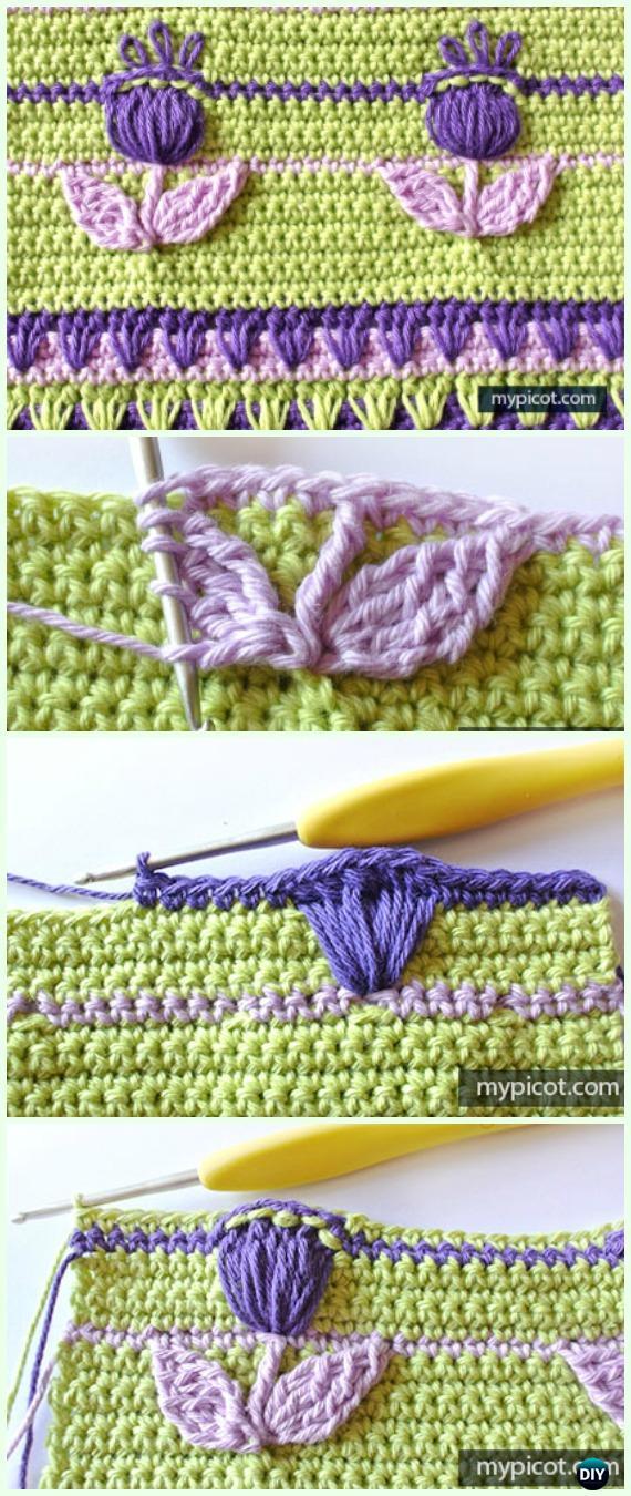 Textured CrochetFlowerStitch Free Pattern - Crochet Flower Stitch Free Patterns